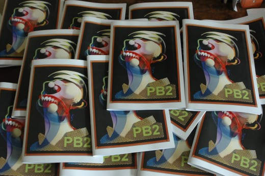 Copies of 'Poetry Bus 2' fresh off the press.